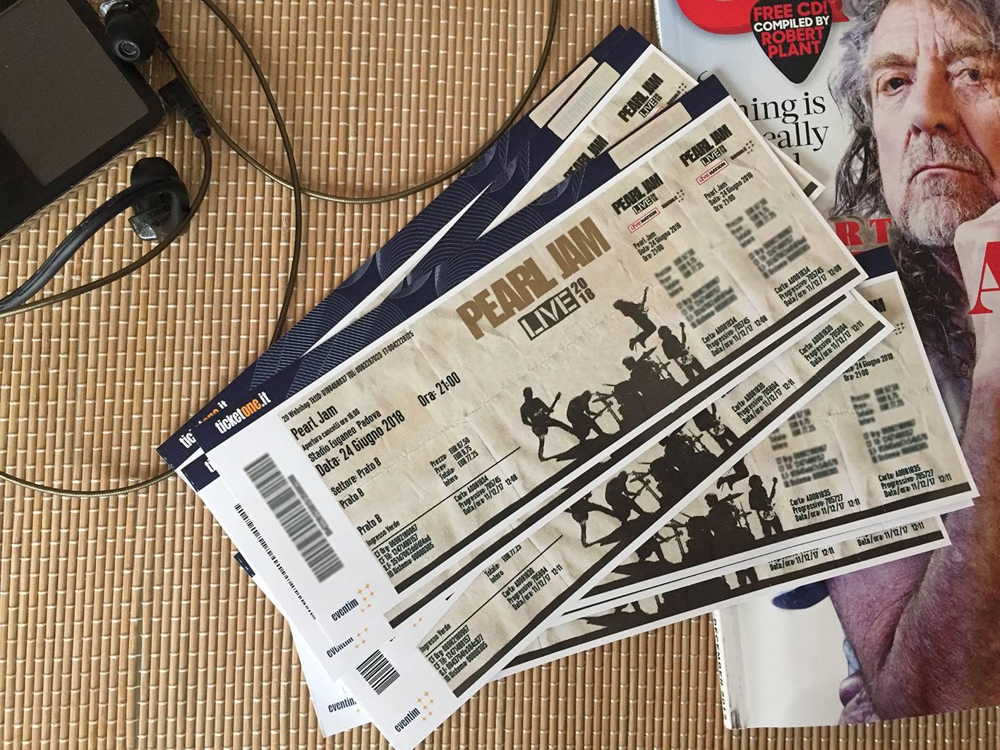 Pearl Jam fan ticket Padova
